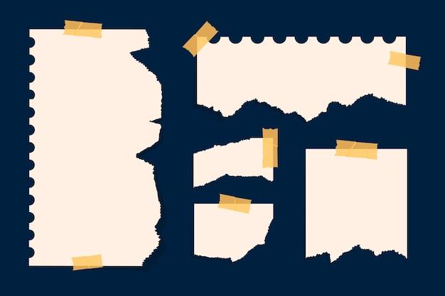 Zerrissenes papier in verschiedenen formen eingestellt