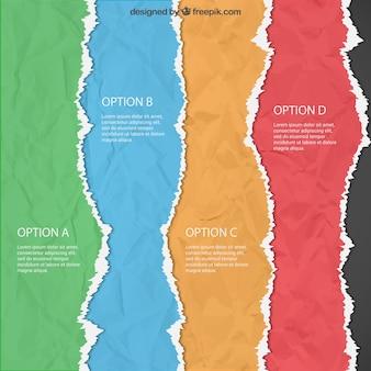 Zerrissenes papier infografik