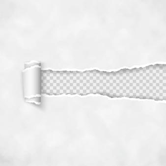 Zerrissenes papier mit gerollter kante