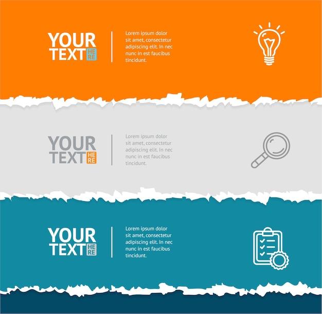 Zerrissenes papier mit zerrissenen kanten und text.