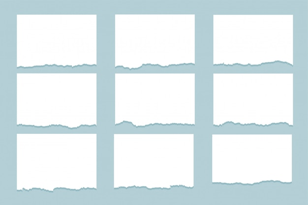 Zerrissenes papier zerrissene blätter von neun