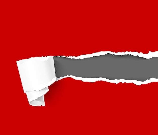 Zerrissenes rotes farbpapier mit schriftrolle auf schwarzem hintergrund mit platz für text