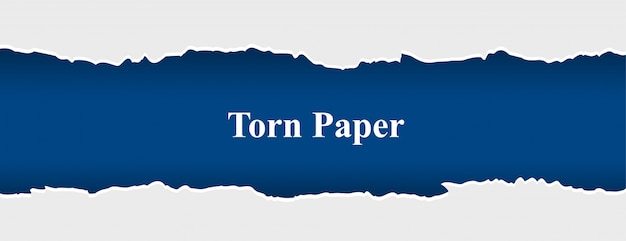 Zerrissenes zerrissenes papierbanner in der weißen und blauen farbe