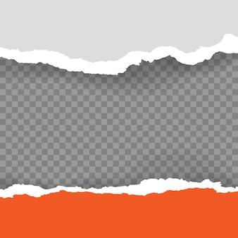 Zerrissenes, zerrissenes stück horizontales blaues papier mit weichem schatten ist auf kariertem grauem hintergrund für text. vektor-illustration
