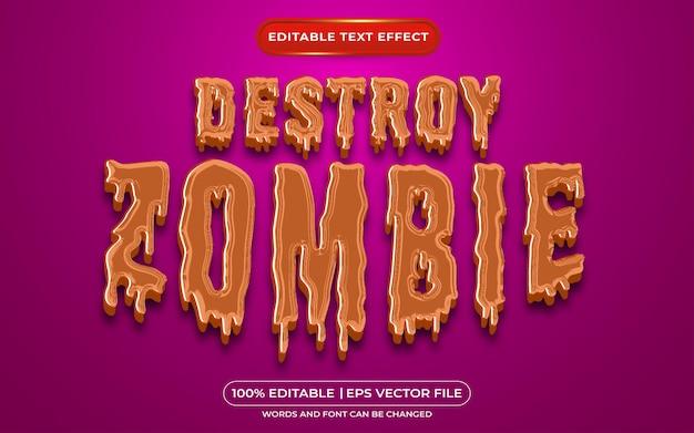 Zerstöre bearbeitbaren textstileffekt für zombies, der für das halloween-event-thema geeignet ist