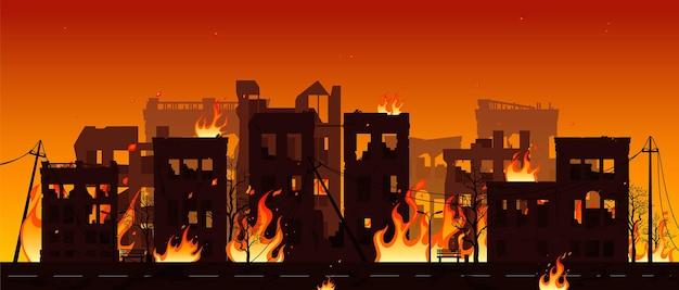 Zerstörte stadt in brand vector illustration eps