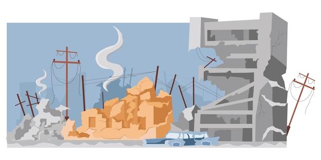 Zerstörte stadtgebäude nach krieg oder erdbeben vektor flache illustration