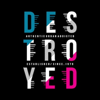 Zerstörtes typografie-garphict-shirt