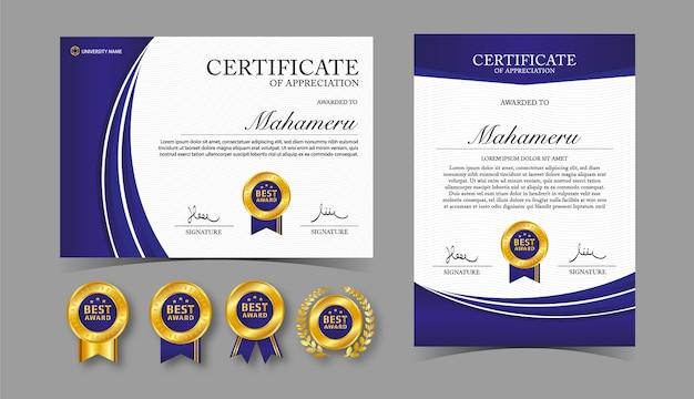 Zertifikat anerkennung vorlage gold und blaue farbe