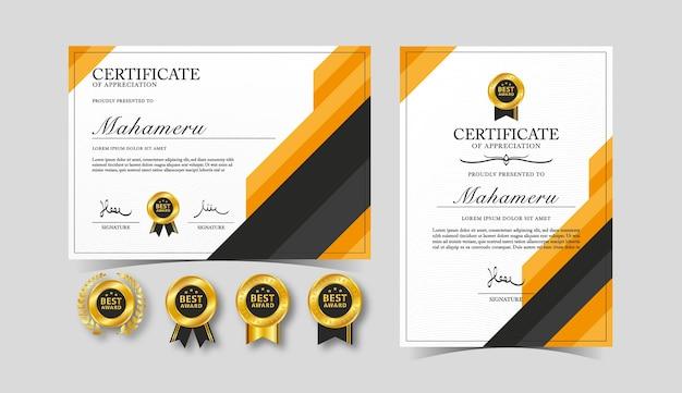 Zertifikat anerkennungsschablone schwarz und orange farbe