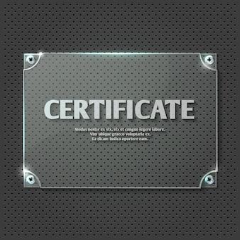 Zertifikat auf glasplatte