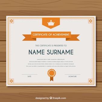 Zertifikat der leistung mit orangefarbenen elementen
