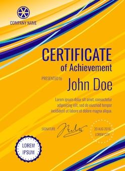Zertifikat des leistungsschablonendiplom-vektorplanes. dokumenttypographie mit firmenname ill