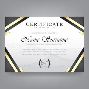 Zertifikat-design-vorlage im modernen stil