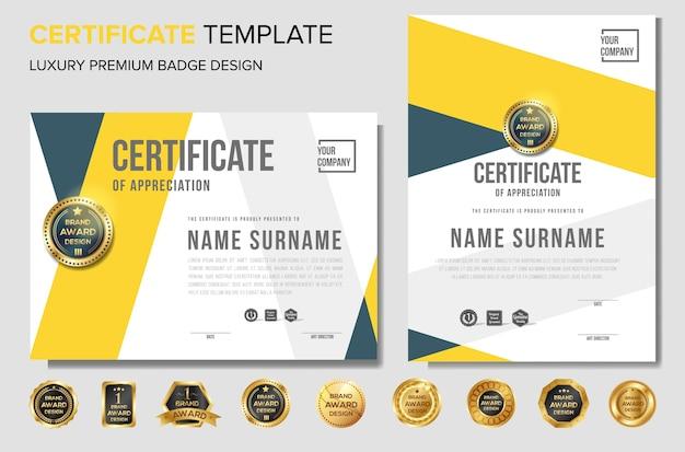 Zertifikat design-vorlage mit abzeichen