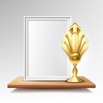 Zertifikat-diplom mit goldenem cup