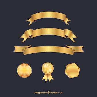 Zertifikat-elemente sammlung in goldener farbe
