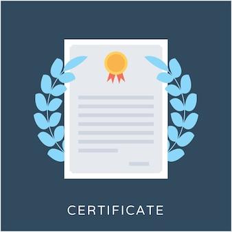 Zertifikat flache vektor icon