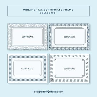 Zertifikat frames sammlung im ornamentalen stil