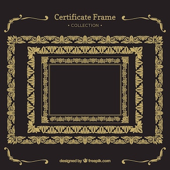 Zertifikat frames sammlung mit vintage-ornamenten