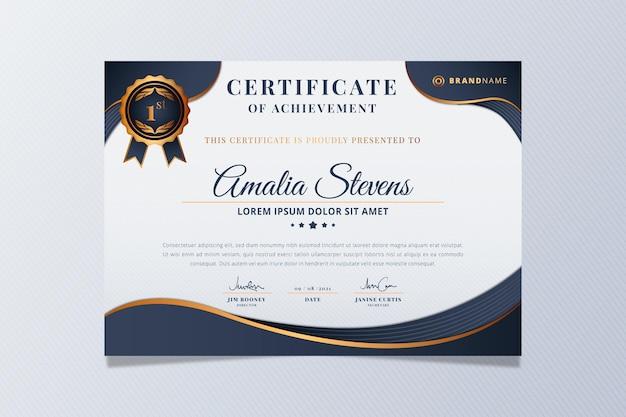 Zertifikat für den eleganten stil mit farbverlauf