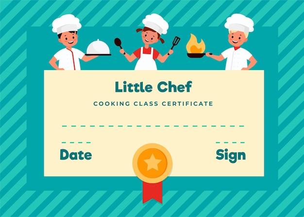 Zertifikat für den kinderkochkurs. kochschule junge köche, kochunterricht für kleine köche, kinder lernen, um essen zu kochen, junge und mädchen in küchenuniform, diplomfarbvektor flache cartoon-vorlage