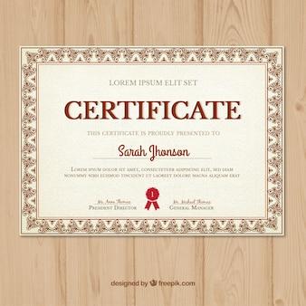Zertifikat mit einem dekorativen rahmen klassischen stil