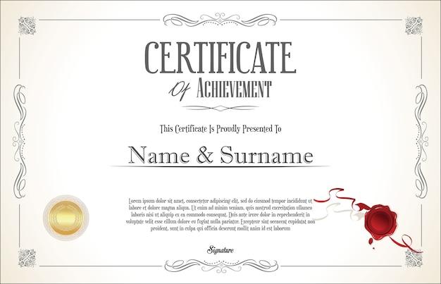 Zertifikat mit goldenem siegel und buntem designrand