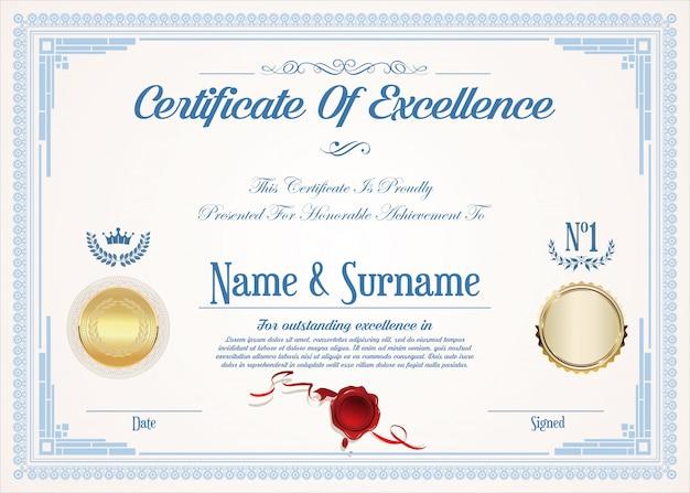 Zertifikat oder diplom der exzellenz retro vintage design