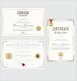 Zertifikat oder diplom retro-design-sammlung