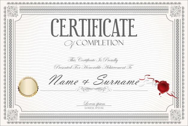 Zertifikat oder diplom retro-design
