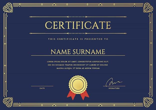 Zertifikat oder diplomvorlage.
