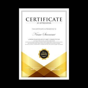 Zertifikat premium-vorlage mit goldener farbe