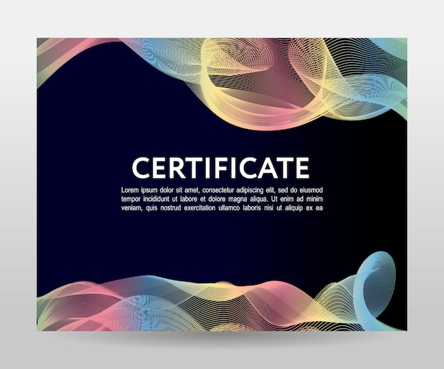 Zertifikat. vorlagendiplome, währung. farbverlaufsrahmen