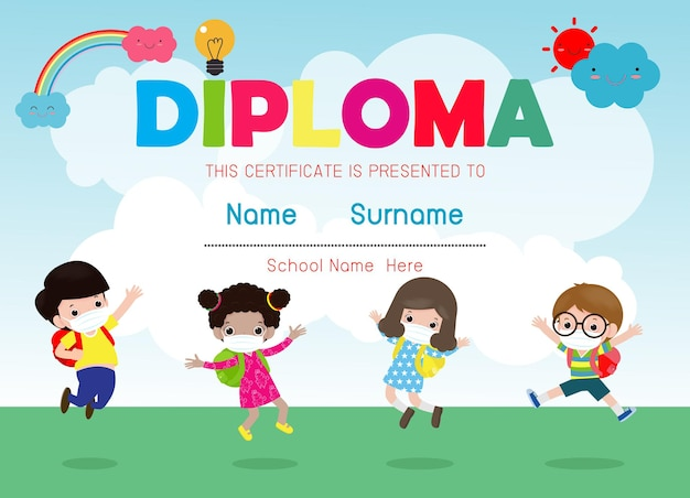 Zertifikate kindergarten und elementare illustration