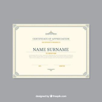 Zertifikatschablone mit dekorativer grenze