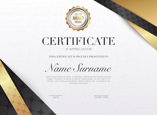 Zertifikatschablone mit goldenem dekorationselement