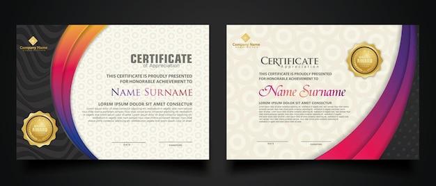 Zertifikatschablone mit realistischem luxus-texturmuster