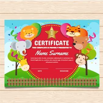Zertifikatschablone mit tierdesign