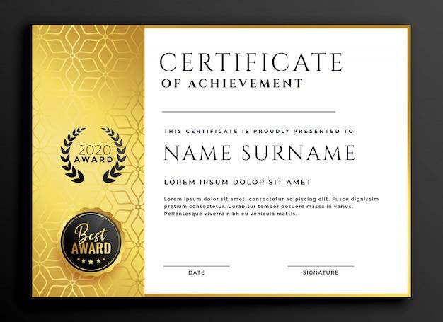 Zertifikatschablonendesign mit goldenem luxusmuster