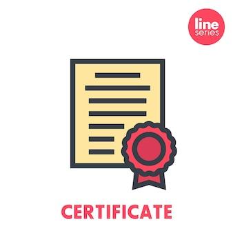 Zertifikatssymbol auf weißem, flachem stil mit umriss