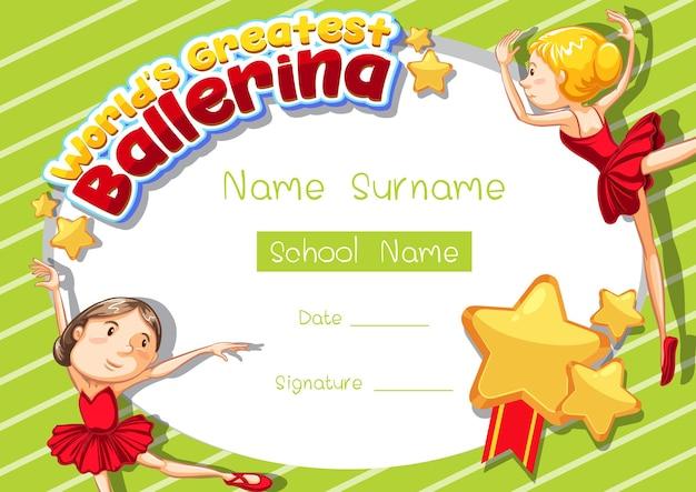 Zertifikatsvorlage für die größte ballerina der welt