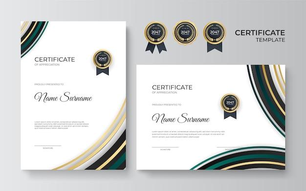 Zertifikatsvorlage mit dynamischen und futuristischen geometrischen formen und modernem hintergrund. goldabzeichen und grüne abstrakte elemente