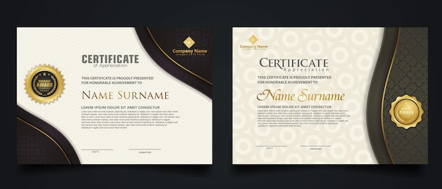 Zertifikatsvorlage mit elegantem eckrahmen und luxuriösem realistischem texturmuster, diplom und premium-abzeichen-design. vektor-illustration