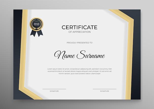 Zertifikatsvorlage zum ausdrucken in gold und schwarz Premium Vektoren
