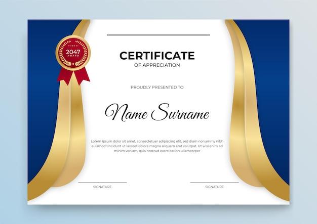 Zertifikatvorlage blau und gold. moderner online-kurs, diplom, corporate training certificate design