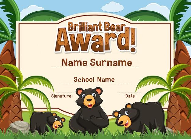 Zertifikatvorlage für brillante bärenauszeichnung mit bären