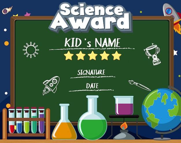 Zertifikatvorlage für den wissenschaftspreis mit vielen ausrüstungen in