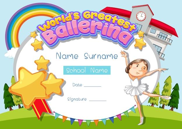 Zertifikatvorlage für die größte ballerina der welt