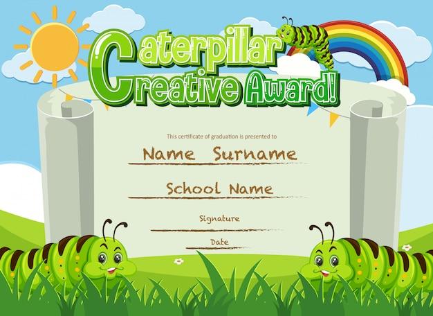 Zertifikatvorlage für kreative auszeichnung mit raupen